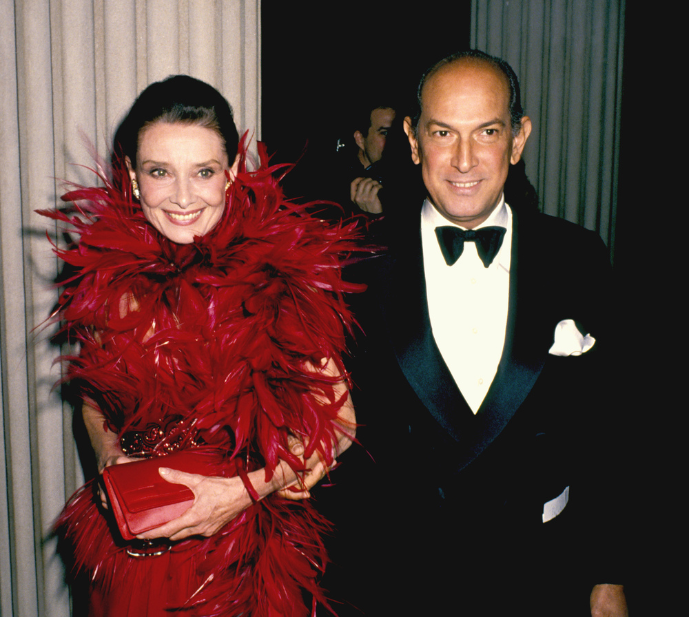 OSCAR DE LA RENTA WITH ONE OF MY FAVE, AUDREY HEPBURN, CFDA AWARDS 1988
