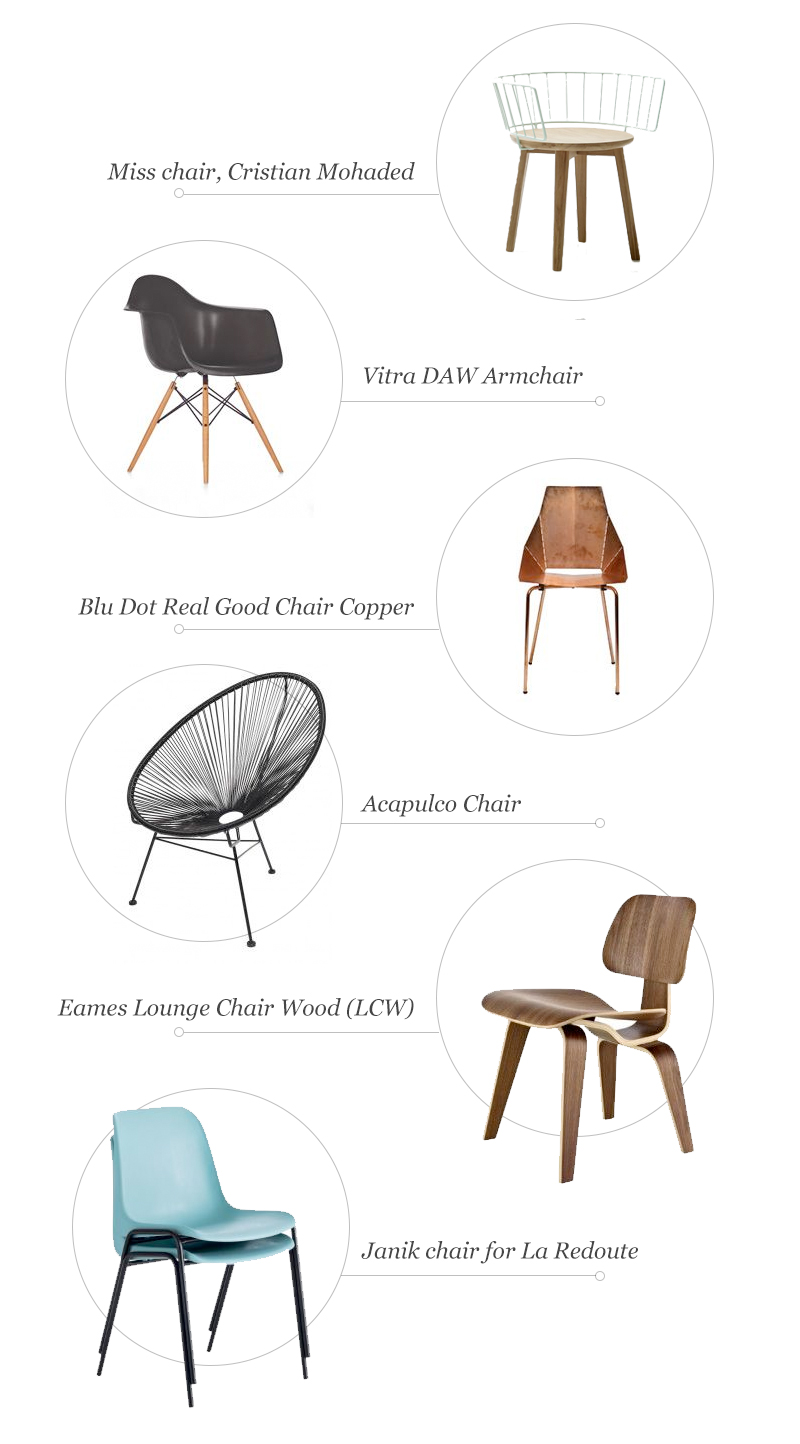 1.  Miss Chair  | 2.    DAW Eames Plastic Armch  hair  | 3.  Blue Dot Real Good Chair  | 4.  Acapulco Chair  | 5.  Lounge Chair Wood  | 6.  Janik Chair