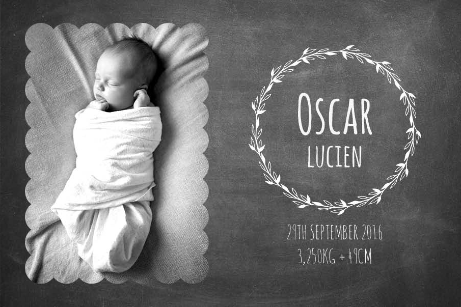 Commissioned Birth Announcement - Client: Albelli - Design