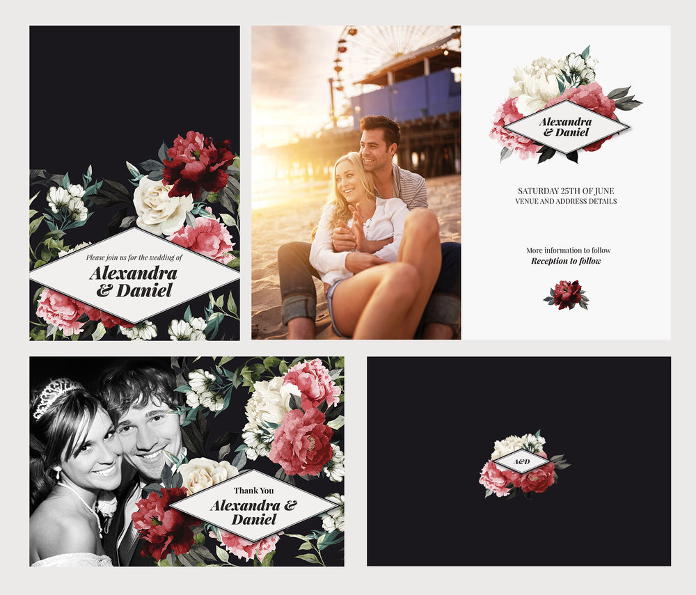 Commissioned wedding set - Client: Albelli - Design