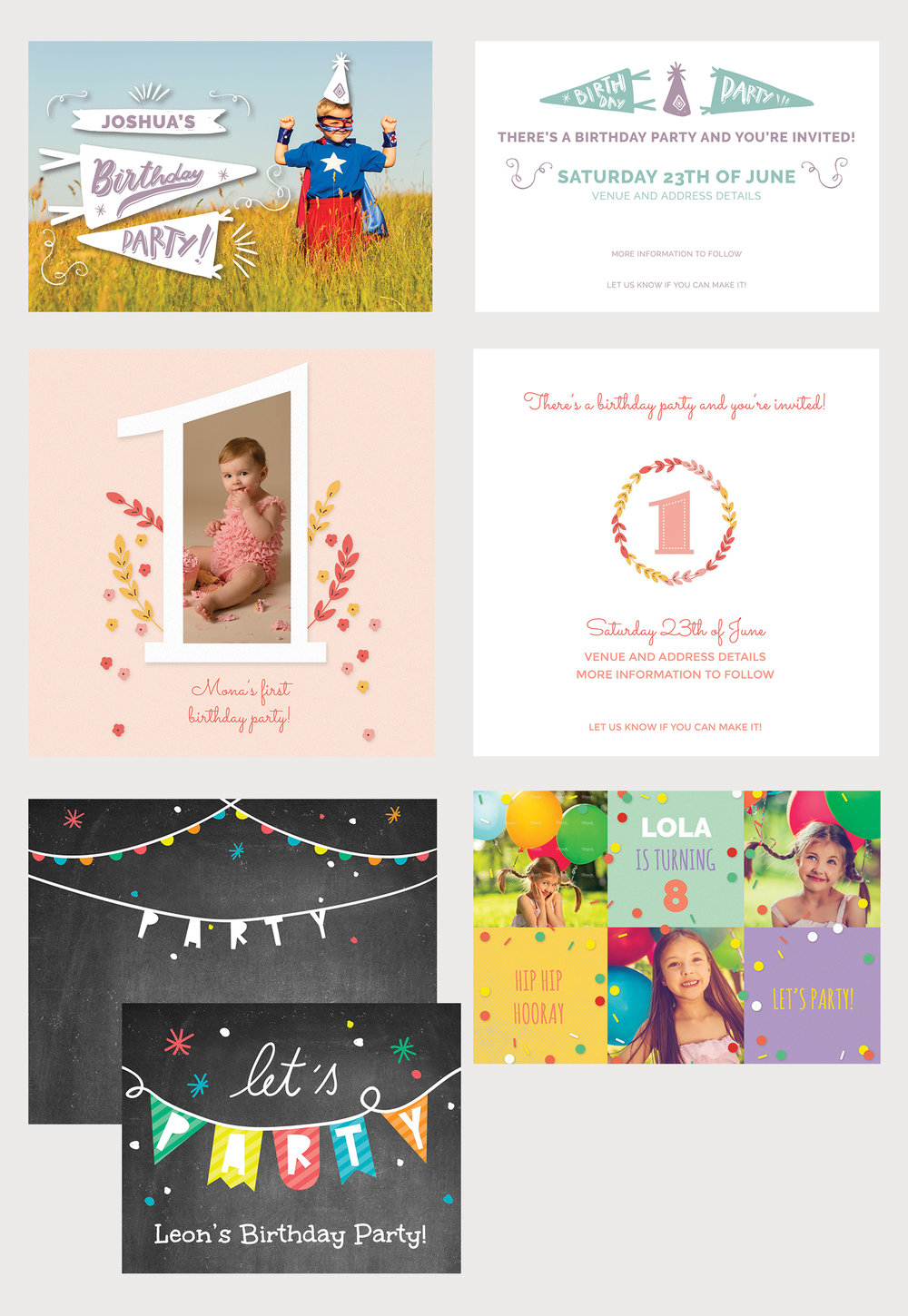 Commissioned birthday cards - Client: Albelli - Design, Illustration