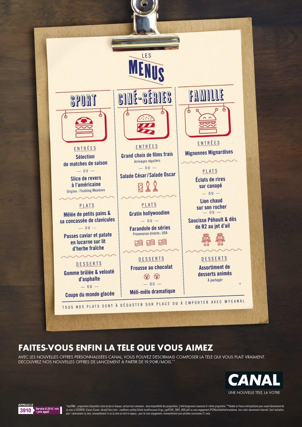 Canal+ Menus / Campagne Print ↗