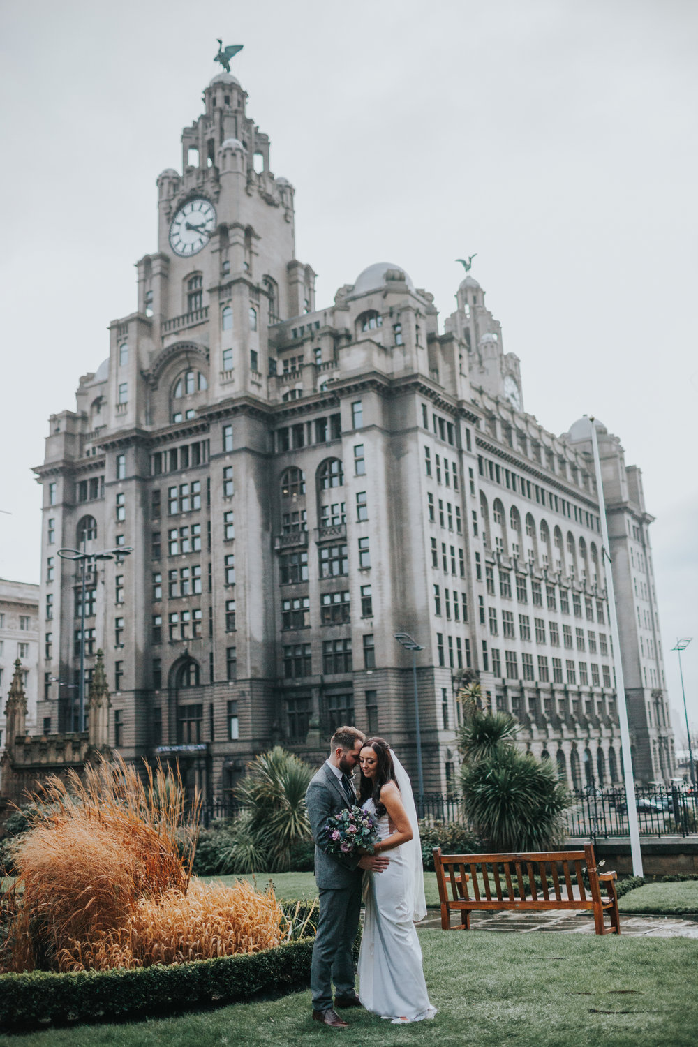 Bride and Groom in front of the Liver Buildings, Liverpool
