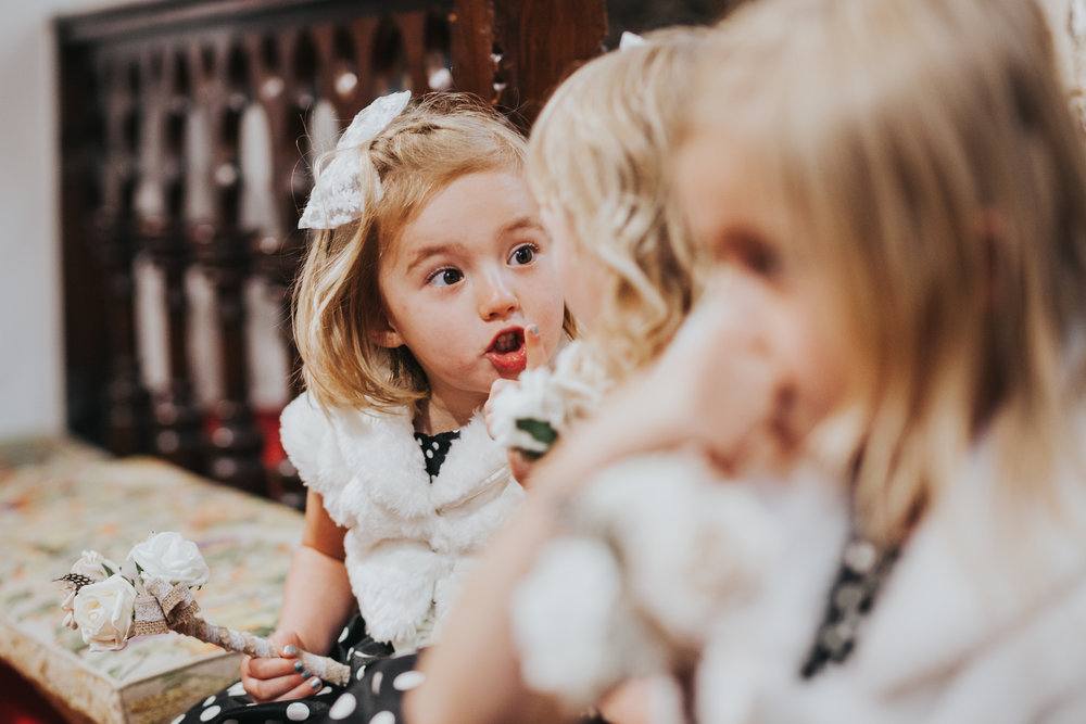 Previously grumpy child tells the other 2 girls to shut up during the service, with a super cute finger to lips, glare and the loudest SHHHHHHHHH ever!