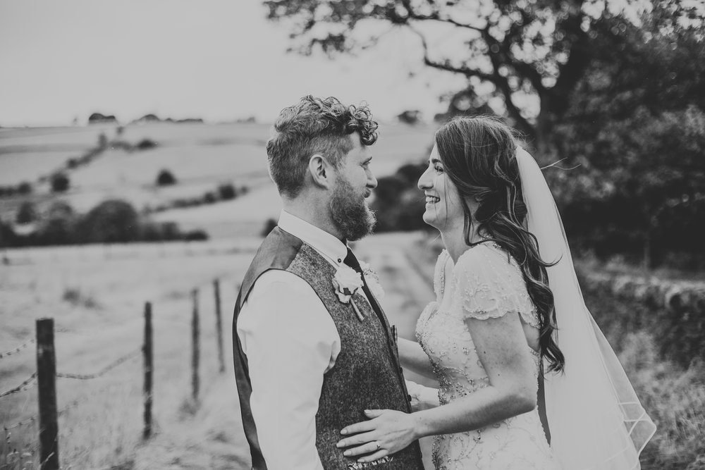 Bride and Groom Portrait black and white