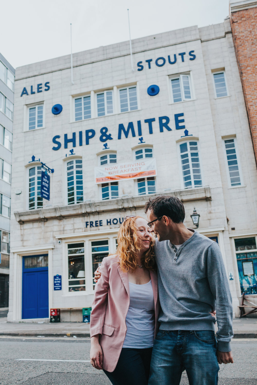 Couple Shoot outside The Ship and Mitre Liverpool
