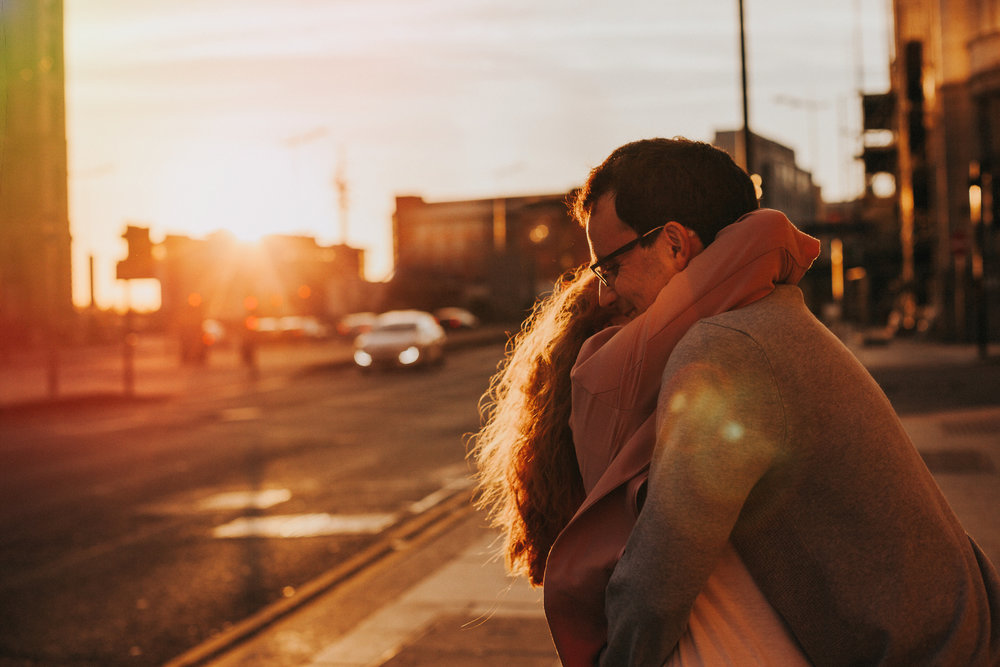 Sunset city hug.