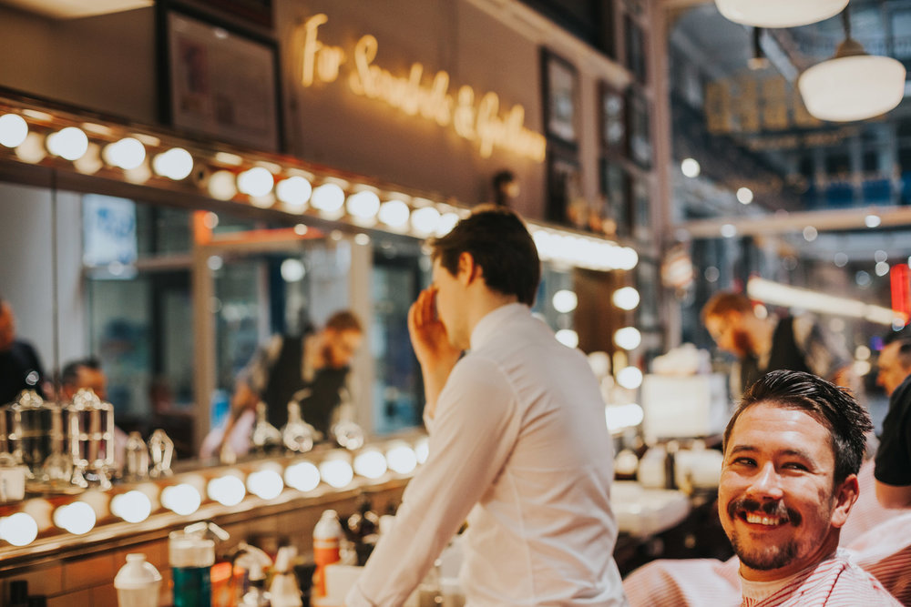 Grooms happy face in barber, barber, Manchester