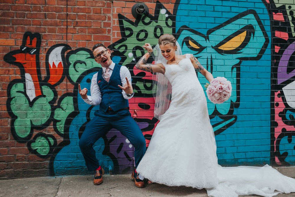 Manchester Bride and Groom throwing some strong poses for their photographs