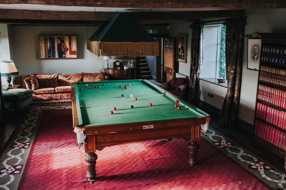 Snooker table on the second floor at Dewsall Court.
