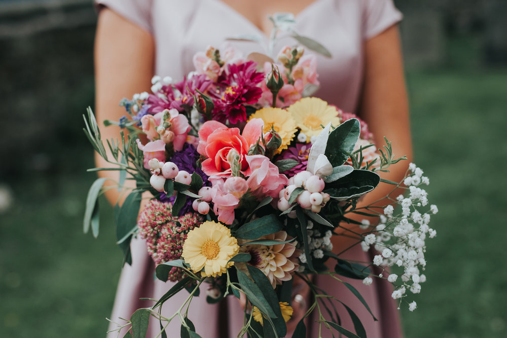 Colourful bridal bouquet of flowers.