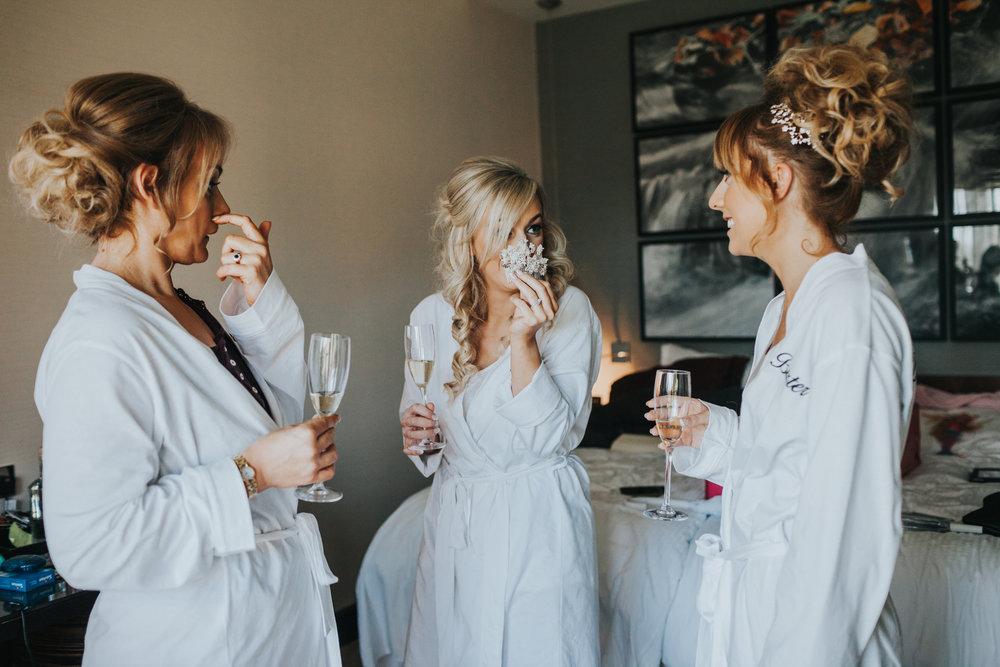 Bride hides behind hair clip.