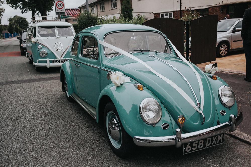 Teal Vintage Wedding Cars.