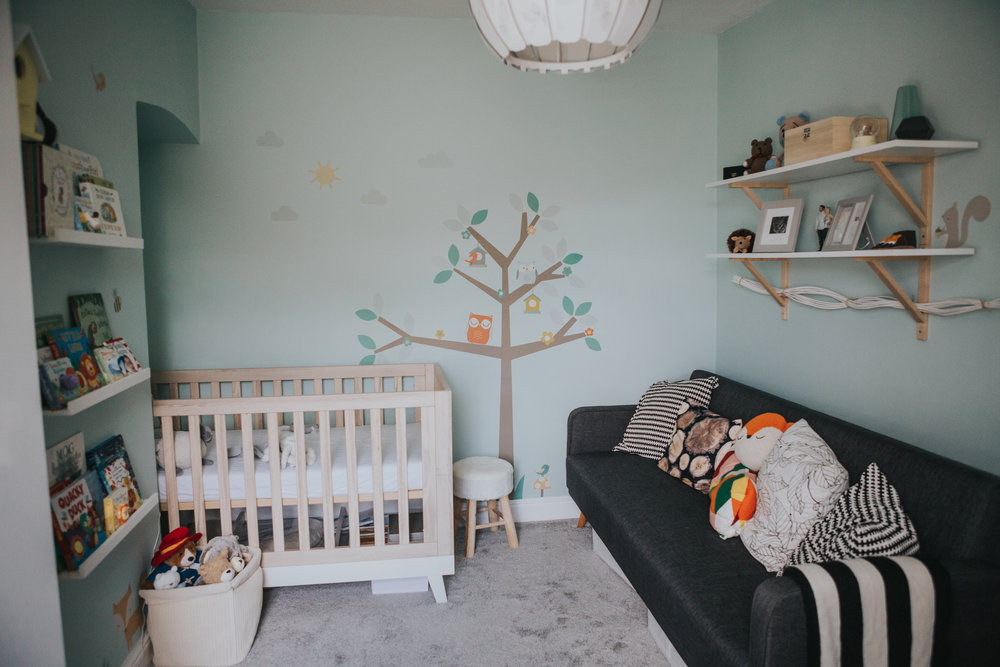 Long shot of babies room.