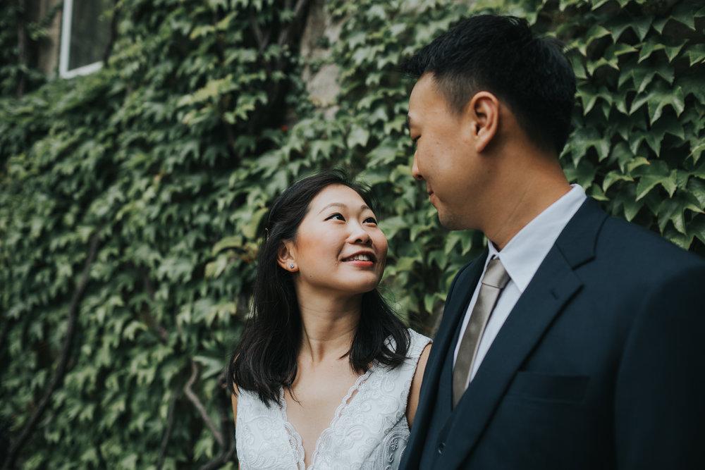 Bride looks at groom.