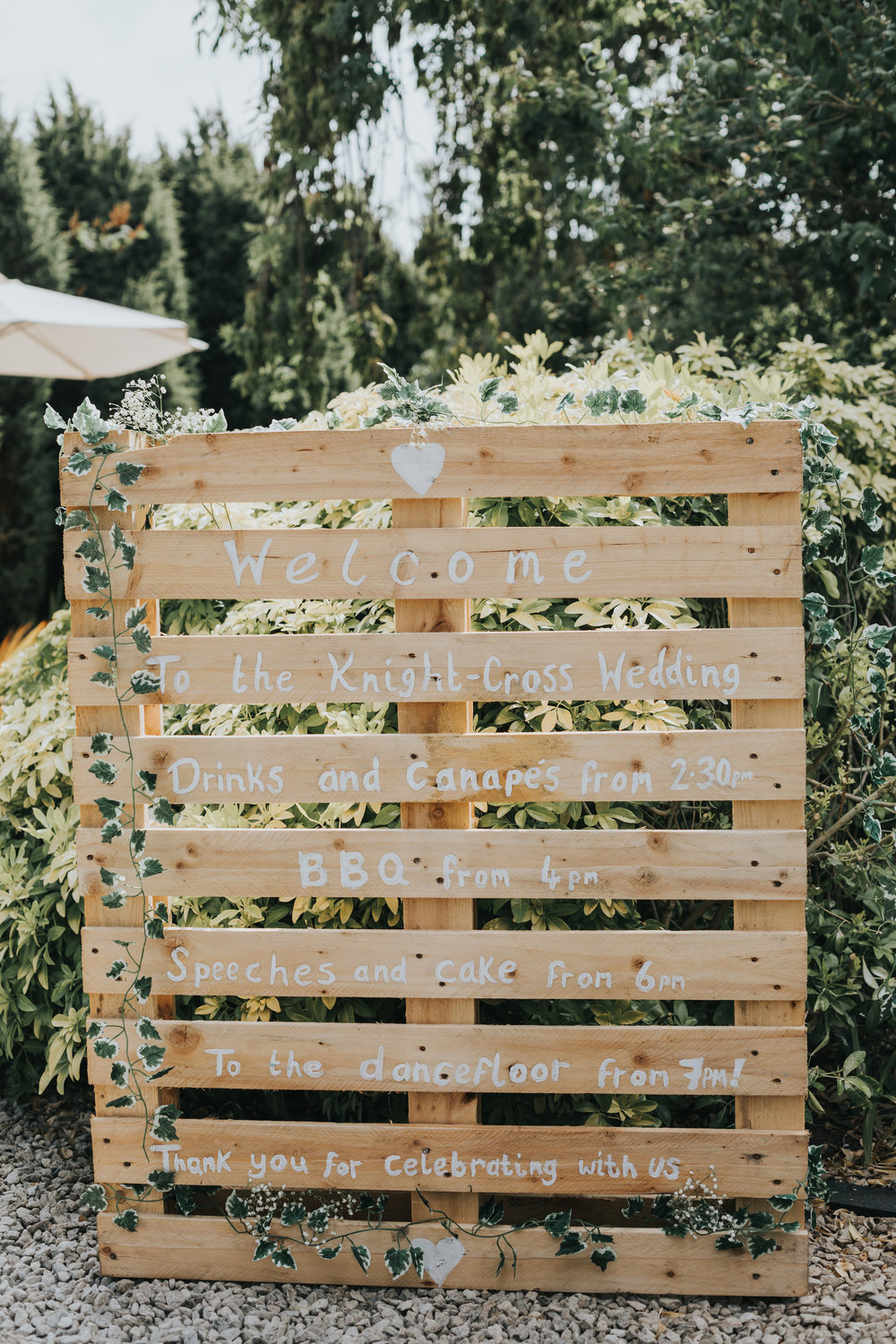 Wedding Time Table Painted on a Pallet.
