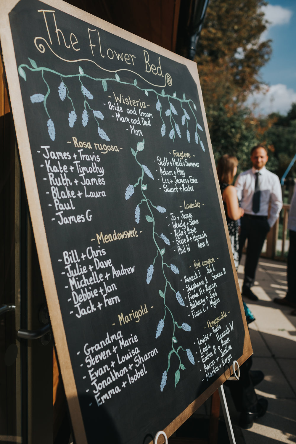 Hand Painted Table Plan Featuring English Flowers, Outside Village Hall Wedding Reception in Oxfordshire.