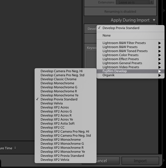 Develop your RAW files on import to be as close to OOC-JPGs or change Film-Simulations anytime!