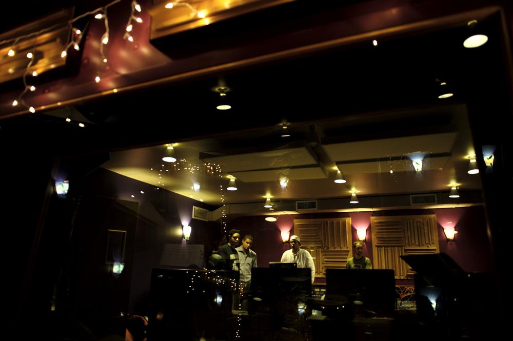 Curtis Brothers Quartet in the studio recording Blood Spirit