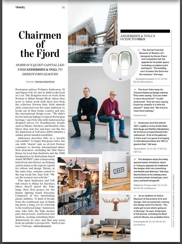 I recently did a story for Surface Magazine's March/April issue about the designers in Anderssen & Voll and their favourite places in Oslo. Out now!