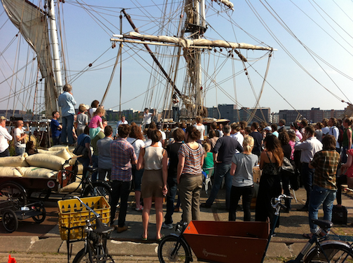 Tres Hombres unloads chocolate and cacao for bike carts, Amsterdam June 2013. Photo by J Lundberg