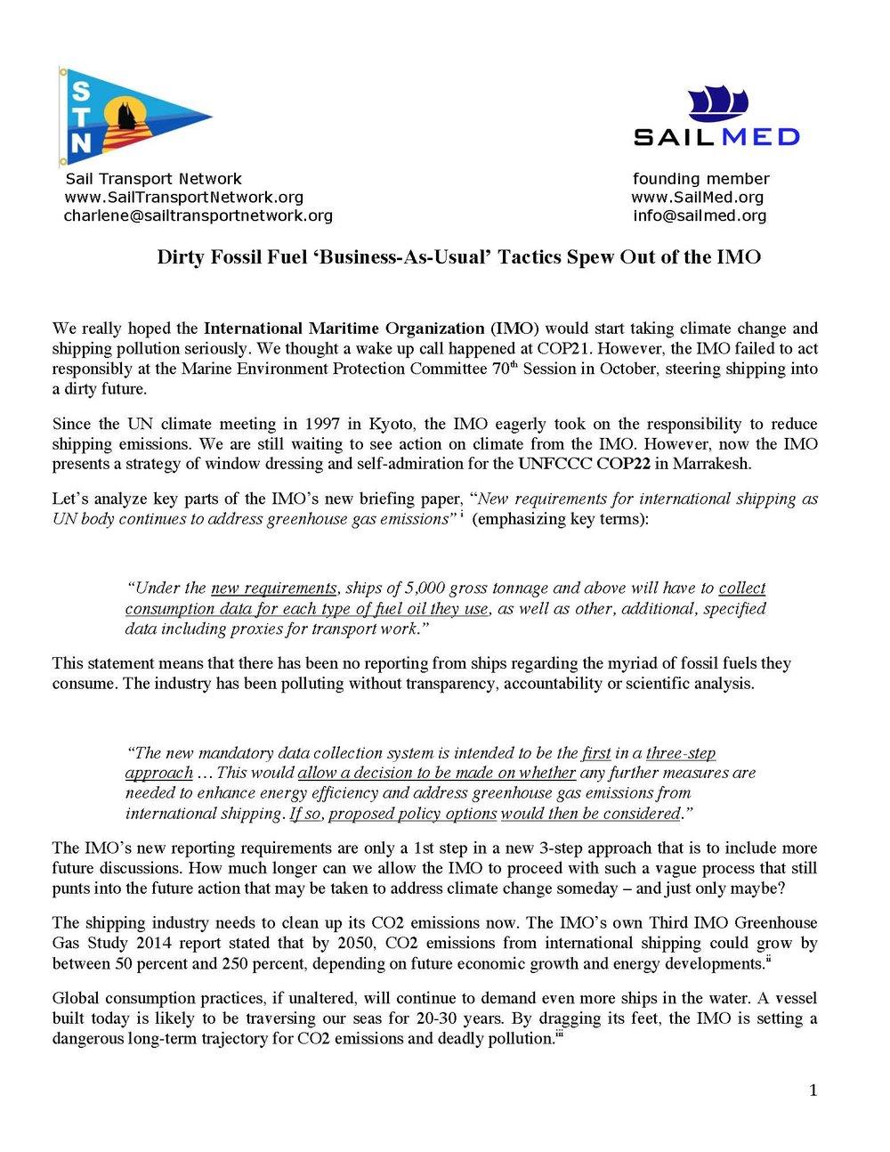 COP22 Position Paper