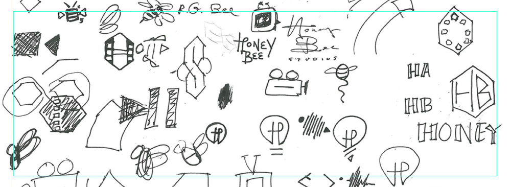 "Some sketches that led to the ""Honey Bee Studios"" logo"