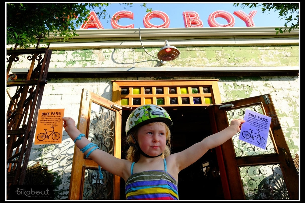 "Taco Boy in Charleston gives a ""Bike Pass"", for a second free margarita, to anyone (of age) who bikes there."