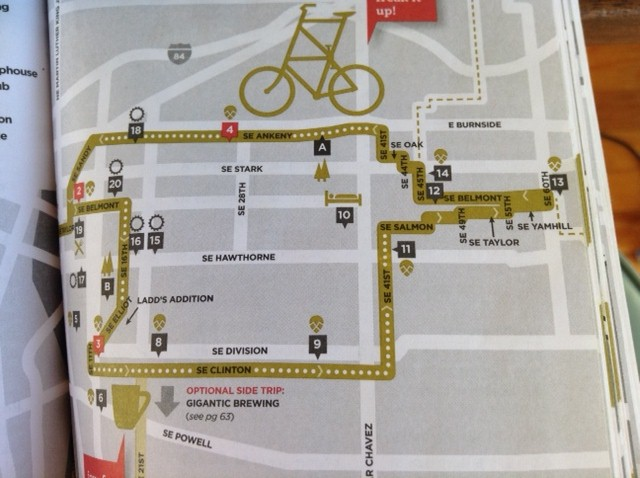 Map of SE neighborhood route in Hop in the Saddle guidebook.