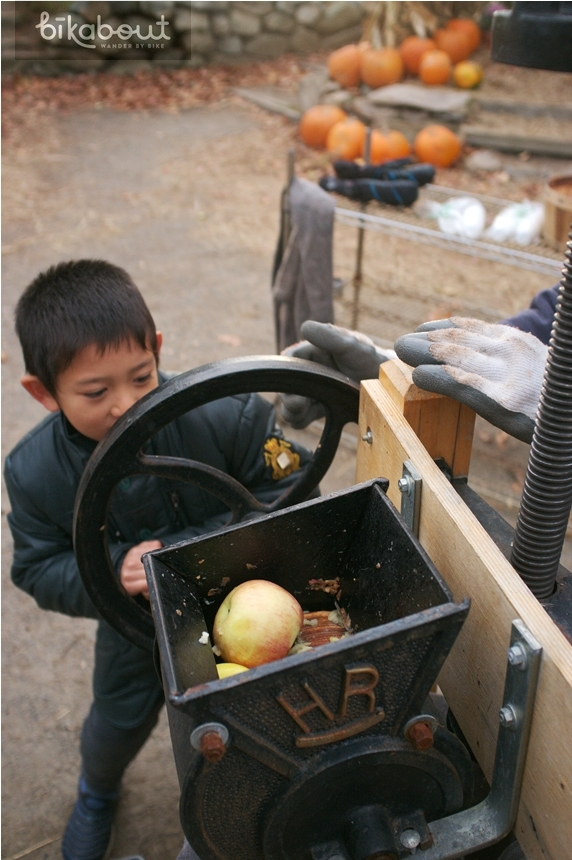 Kids love turning the apple press.