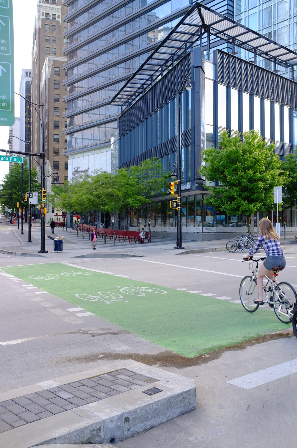 Burrard Street cycle track makes for comfortable city riding
