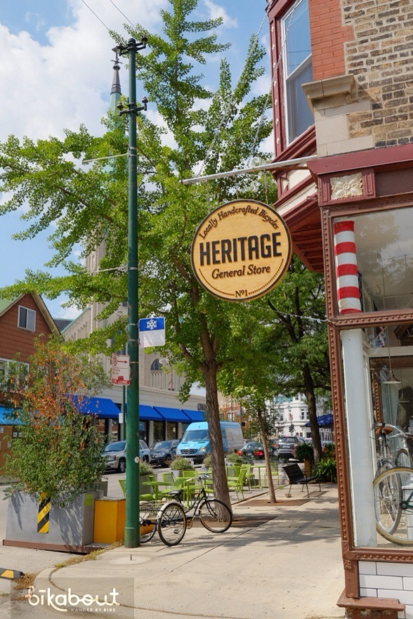 Heritage General Store is both coffee shop and beautiful bike shop with nice accessories.