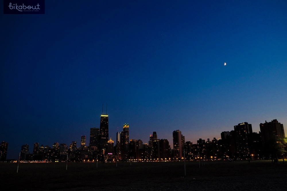 View of the skyline from North Avenue Beach's peninsula