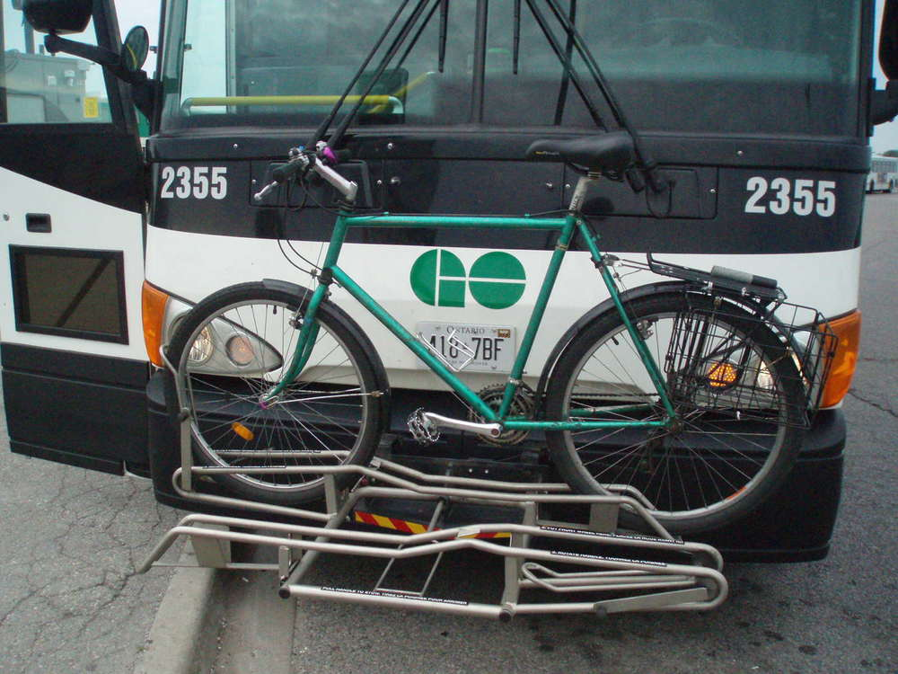 Go Bus outfits some of their buses with these bike racks and they also have a policy that lets customers store bikes in luggage if there is space.