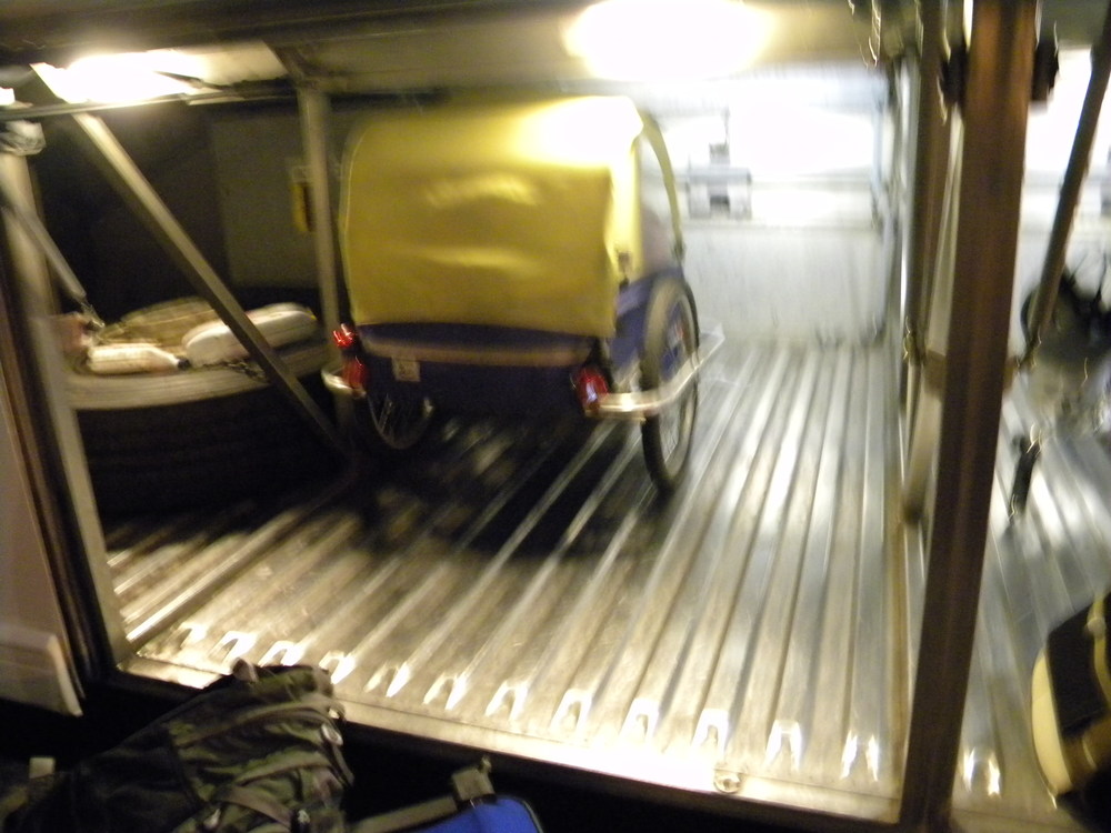 Family trips are possible when the bus allows your burley trailer in the luggage storage.