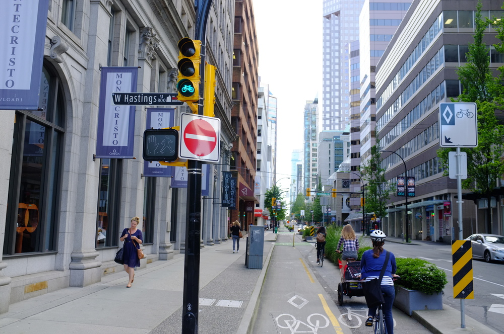 Vancouver's protected bikeways let riders travel safely to restaurants and shopping