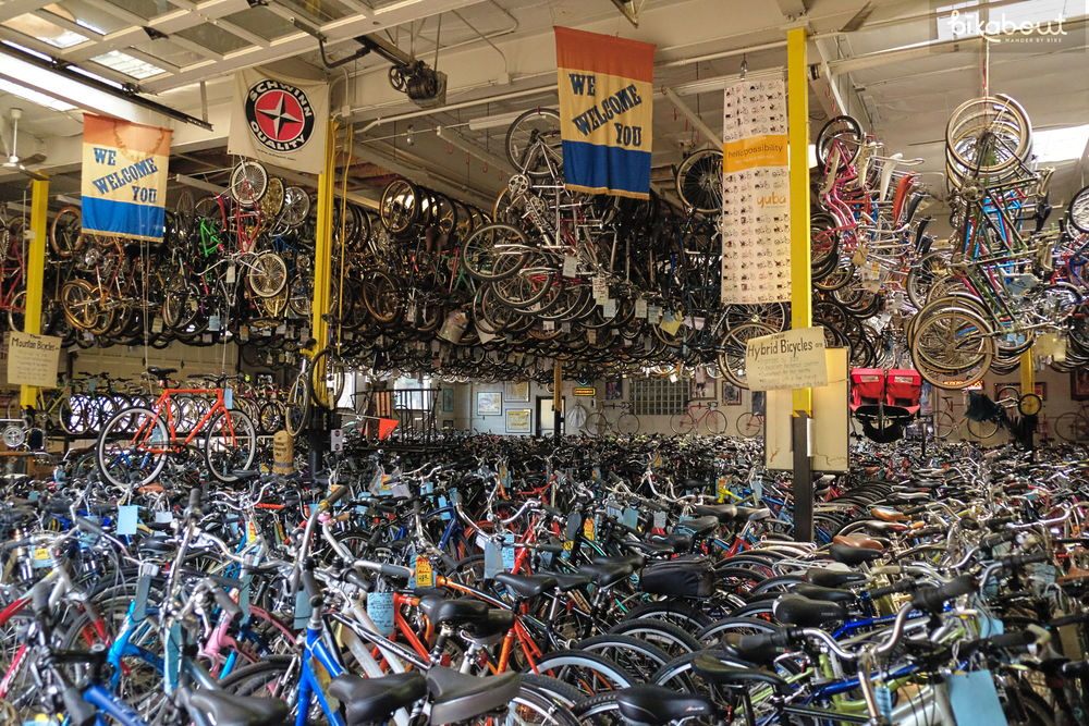 Budget Bicycles credits people their rental costs if they end up purchasing a bike. They're used bike warehouse is full of vintage and current bike porn!