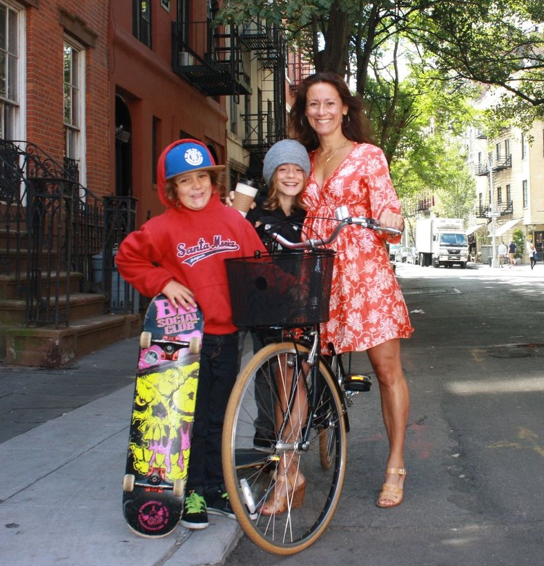 Lani Tarozzi, the route curator, pictured with her two sons who keep up with their mom by skateboarding alongside her.