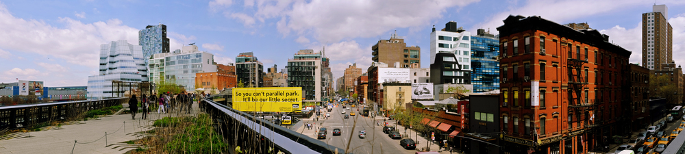 High Line view of IAC and 100 11th Ave buildings on the left.