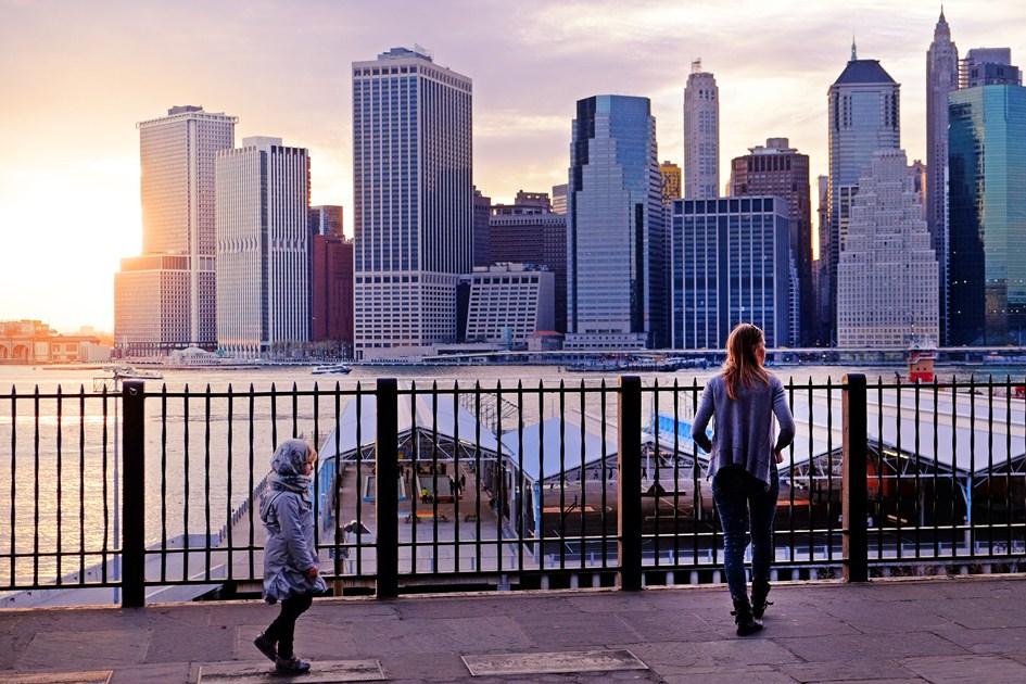 Brooklyn Heights Promenade, dusk.