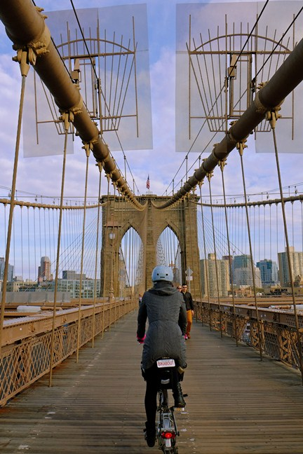 Taking photos while riding on the Brooklyn Bridge is hairy - do not try this at home. I am a trained professional (with good insurance.)