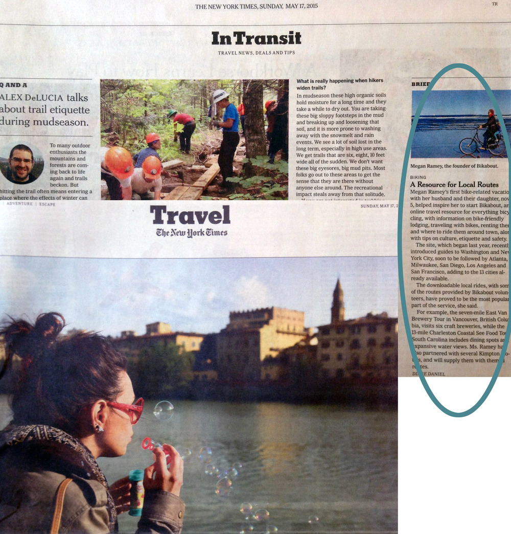"""A New Resource for Biking Routes"" in the Sunday  New York Times Travel  section, May 2015."