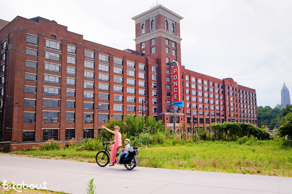 Biking on the Beltline next to the soon to be rehabbed Ponce City Market. It's going to be incredible in there.