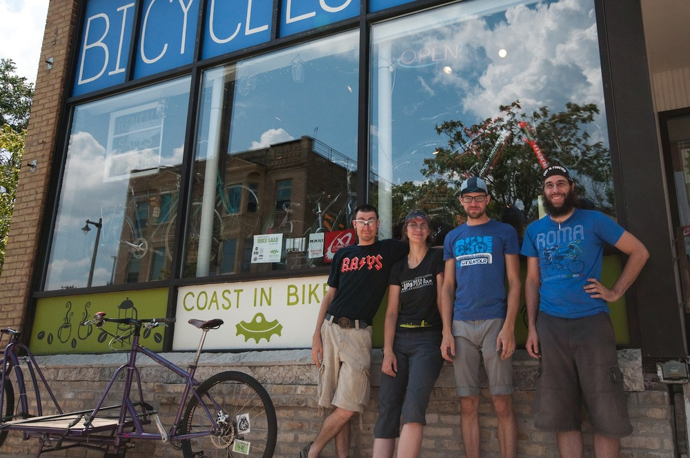 Sam Dodge (pictured far right) of Coast in Bikes loves craft beer and curated a route connecting his favorites.