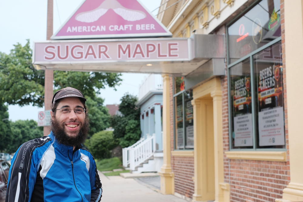 Sam Dodge, route curator, at Sugar Maple.