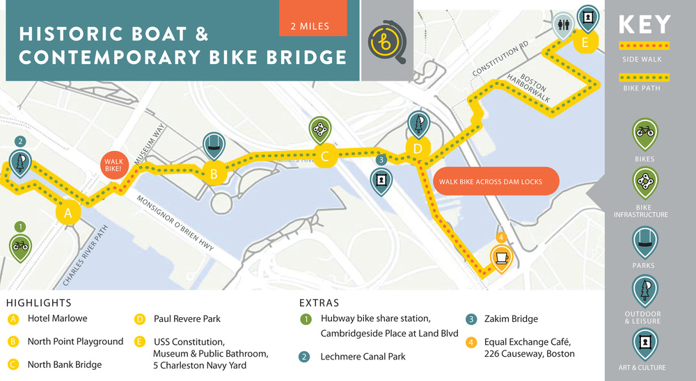 Hotel Marlowe's 2 mile map. Click image to make reservations for this biking experience in Cambridge, MA.