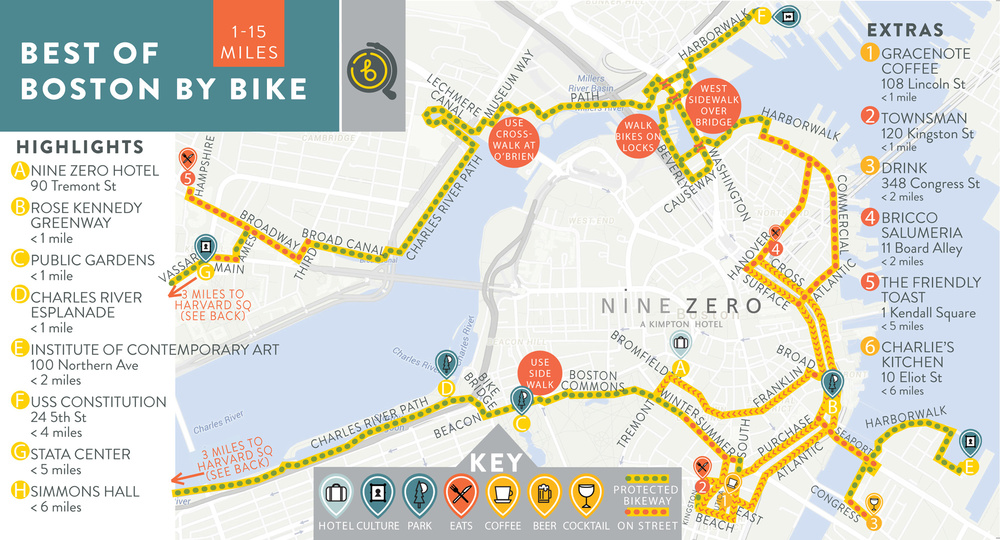 Nine Zero's 1-15 mile bike route map. Click image to make reservations for this biking experience in historic, downtown Boston.