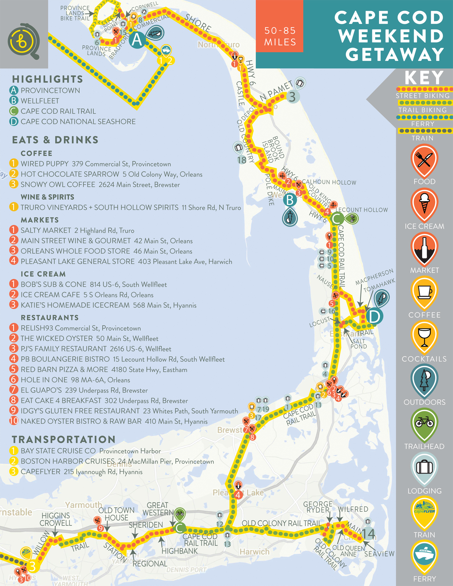Cape Cod Weekend Getaway Map