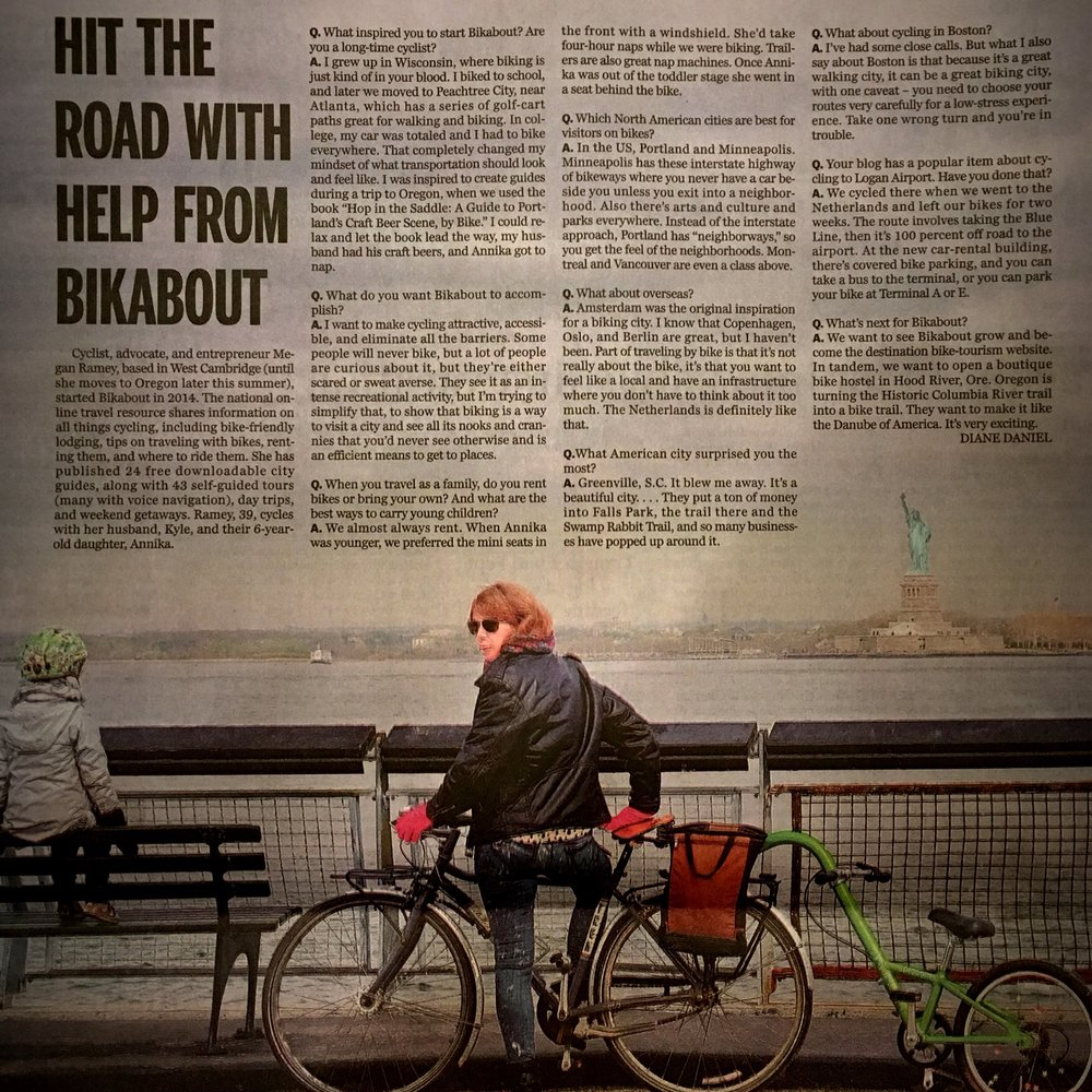 """From Boston to Amsterdam, family-friendly city biking can be fun, safe"" in the Sunday travel section of the Boston Globe, August 2016."