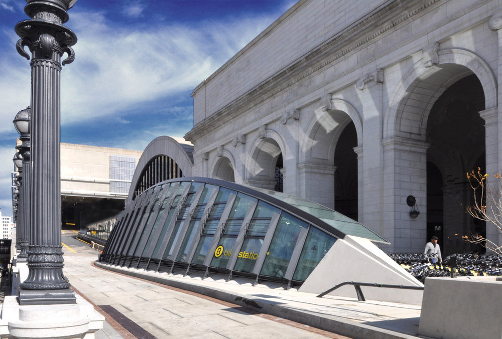 Bicycle Transit Center at Union Station. Photo by KPG design.